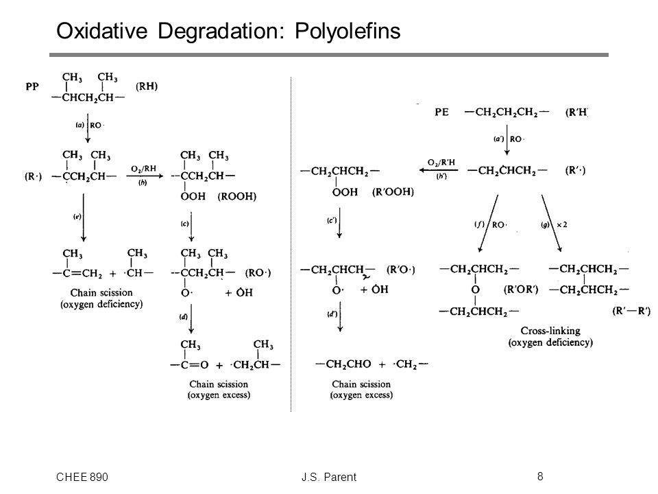 CHEE 890J.S. Parent8 Oxidative Degradation: Polyolefins
