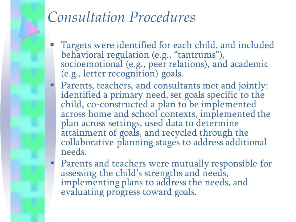 "Consultation Procedures  Targets were identified for each child, and included behavioral regulation (e.g., ""tantrums""), socioemotional (e.g., peer re"