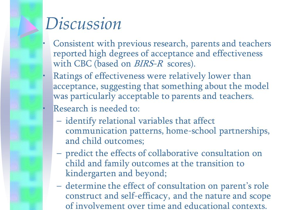 Consistent with previous research, parents and teachers reported high degrees of acceptance and effectiveness with CBC (based on BIRS-R scores). Ratin