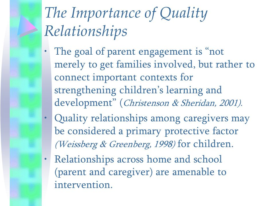 "The Importance of Quality Relationships The goal of parent engagement is ""not merely to get families involved, but rather to connect important context"