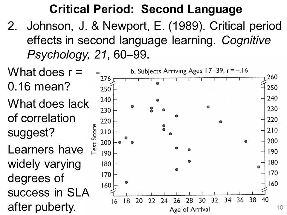 10 Critical Period: Second Language 2.Johnson, J. & Newport, E.