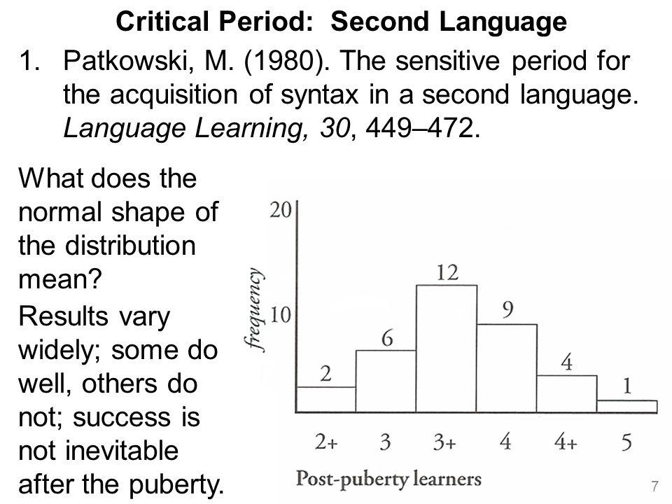 8 Critical Period: Second Language 2.Johnson, J.& Newport, E.