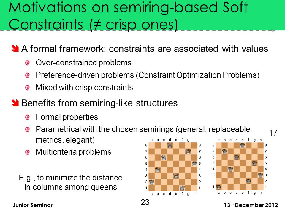 Junior Seminar 13 th December 2012  A formal framework: constraints are associated with values Over-constrained problems Preference-driven problems (Constraint Optimization Problems) Mixed with crisp constraints  Benefits from semiring-like structures Formal properties Parametrical with the chosen semirings (general, replaceable metrics, elegant) Multicriteria problems Motivations on semiring-based Soft Constraints (≠ crisp ones) E.g., to minimize the distance in columns among queens 23 17