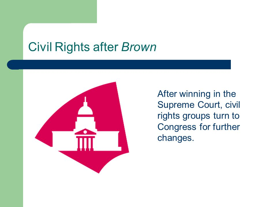Civil Rights after Brown After winning in the Supreme Court, civil rights groups turn to Congress for further changes.