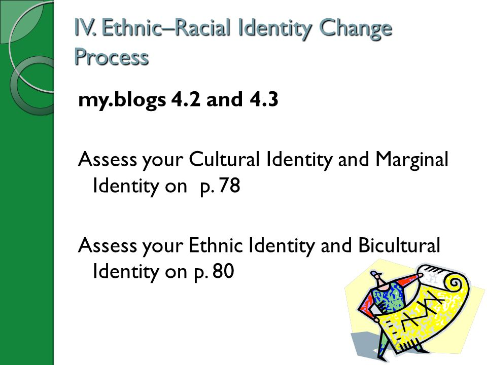 my.blogs 4.2 and 4.3 Assess your Cultural Identity and Marginal Identity on p. 78 Assess your Ethnic Identity and Bicultural Identity on p. 80