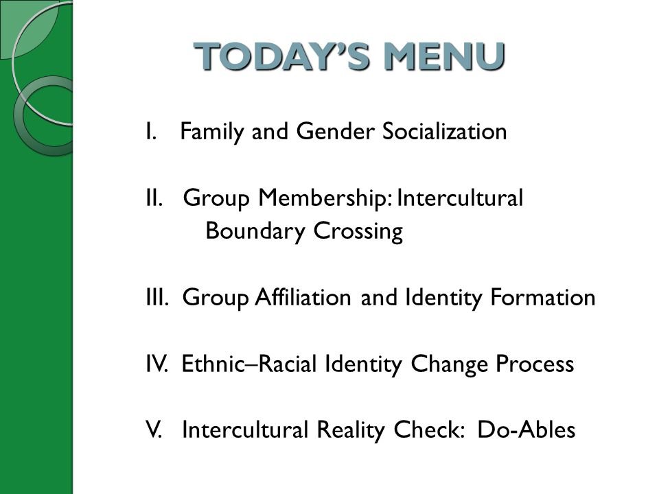TODAY'S MENU I. Family and Gender Socialization II. Group Membership: Intercultural Boundary Crossing III. Group Affiliation and Identity Formation IV