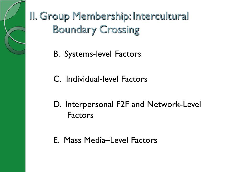 II.Group Membership: Intercultural Boundary Crossing B.
