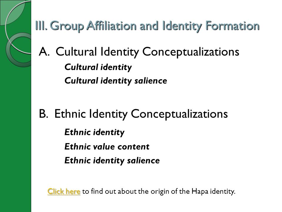 III.Group Affiliation and Identity Formation A.