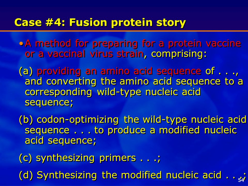 Case #4: Fusion protein story A method for preparing for a protein vaccine or a vaccinal virus strain, comprising: (a) providing an amino acid sequence of..., and converting the amino acid sequence to a corresponding wild-type nucleic acid sequence; (b) codon-optimizing the wild-type nucleic acid sequence...