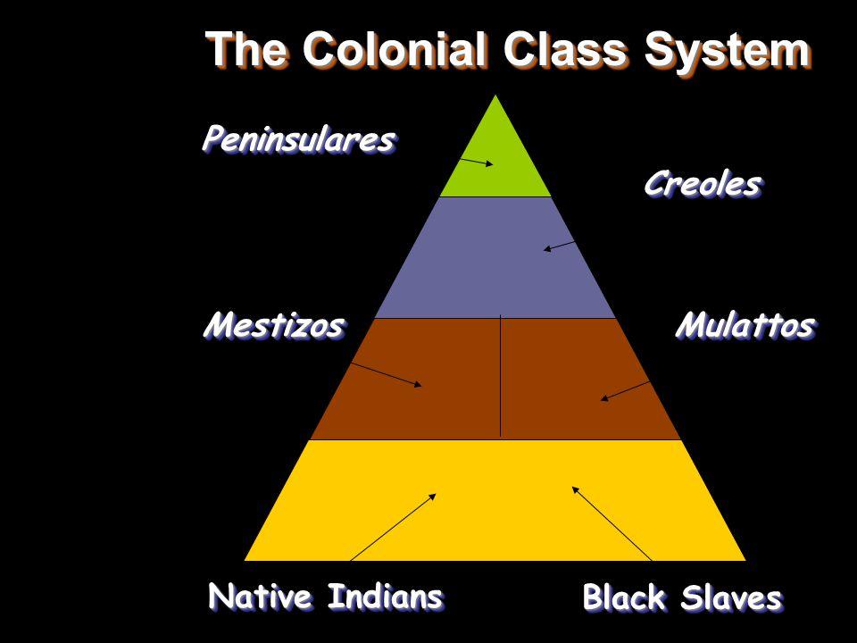 The Colonial Class System PeninsularesPeninsulares CreolesCreoles MestizosMestizosMulattosMulattos Native Indians Black Slaves