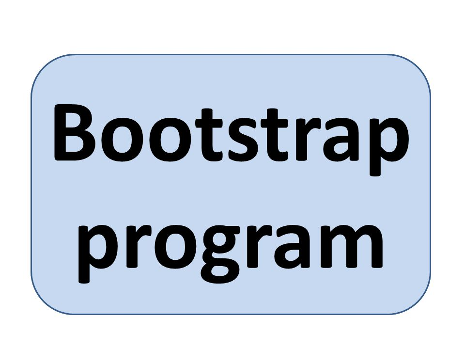 bootstrap program is loaded at power-up or reboot Typically stored in ROM or EEPROM, generally known as firmware Initializates all aspects of system Loads operating system kernel and starts execution Bootstrap program