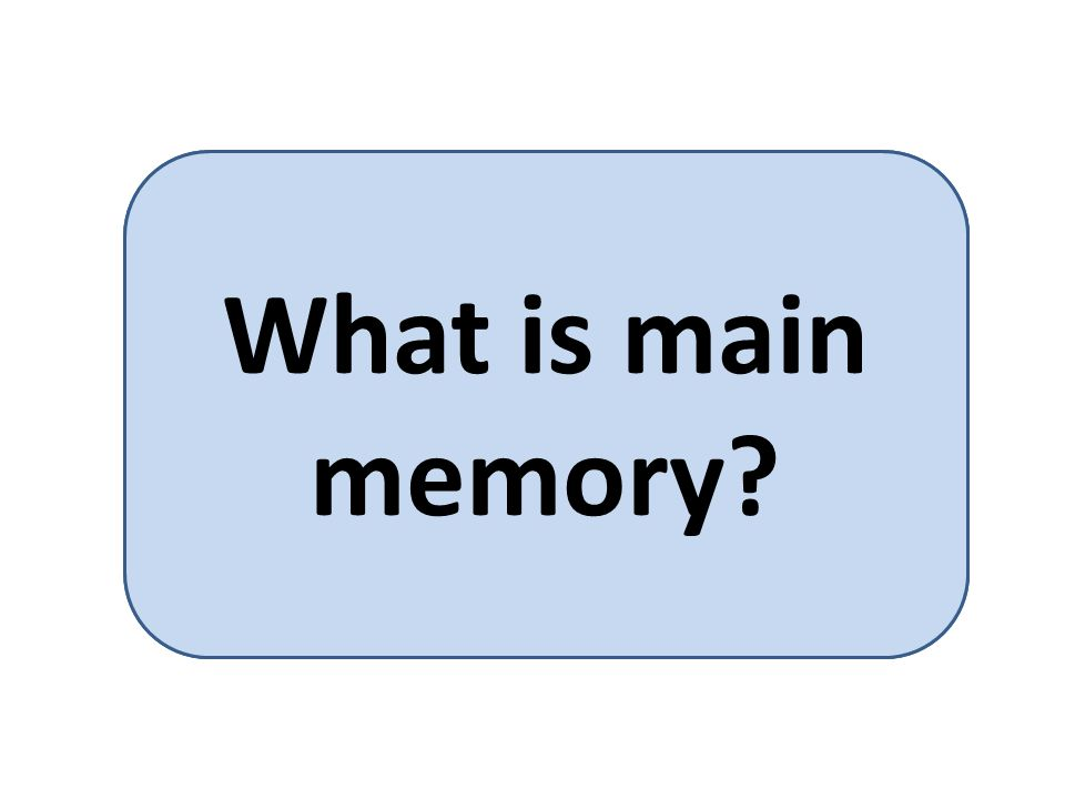 Main memory is the only large storage media that the CPU can access directly. What is main memory