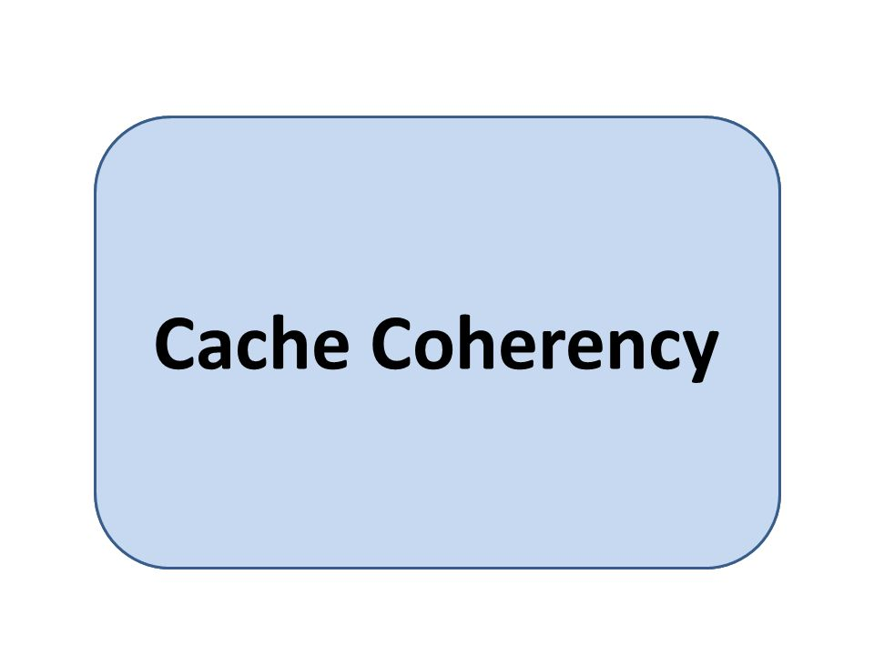 Makes sure that an update of a value of A in one cache is immediately reflected in all other caches where A resides Cache Coherency