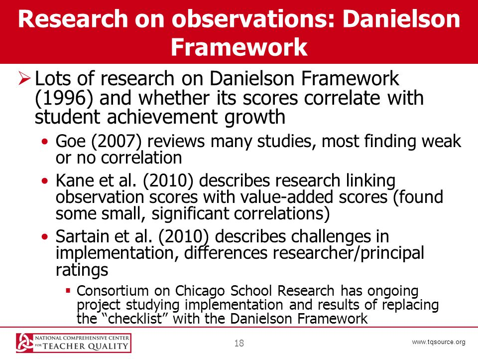 www.tqsource.org 18 Research on observations: Danielson Framework  Lots of research on Danielson Framework (1996) and whether its scores correlate wi