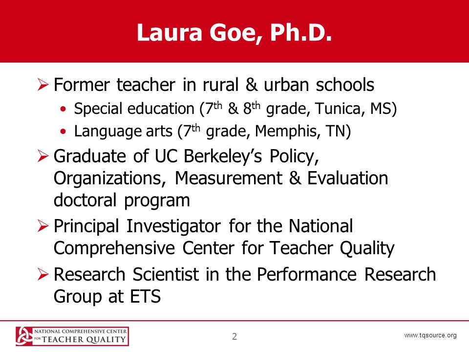 www.tqsource.org 22 Laura Goe, Ph.D.