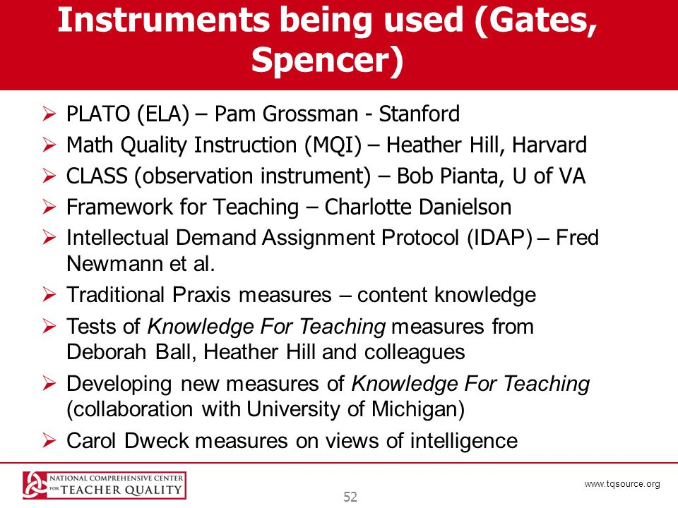www.tqsource.org Instruments being used (Gates, Spencer)  PLATO (ELA) – Pam Grossman - Stanford  Math Quality Instruction (MQI) – Heather Hill, Harv