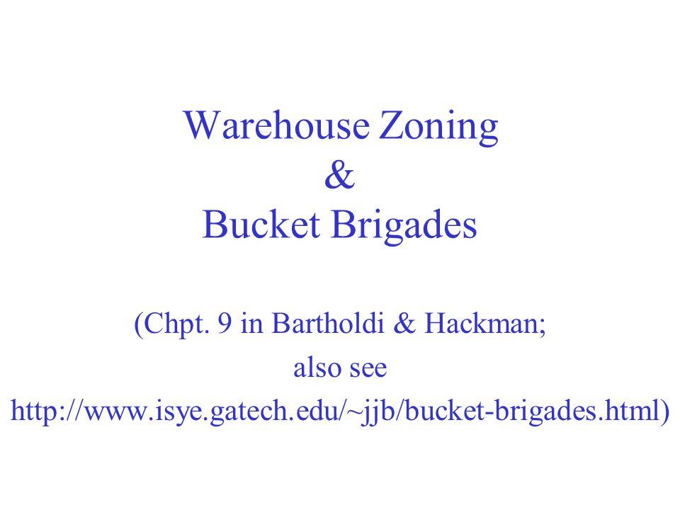 Warehouse Zoning & Bucket Brigades (Chpt. 9 in Bartholdi & Hackman; also see http://www.isye.gatech.edu/~jjb/bucket-brigades.html)