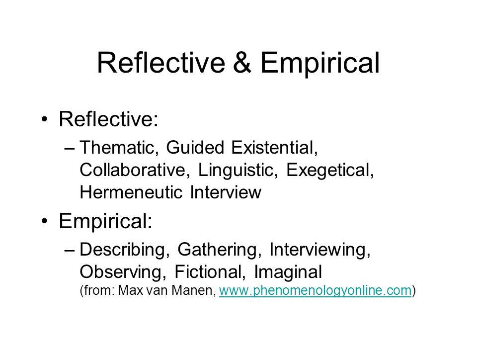 Reflective & Empirical Reflective: –Thematic, Guided Existential, Collaborative, Linguistic, Exegetical, Hermeneutic Interview Empirical: –Describing,