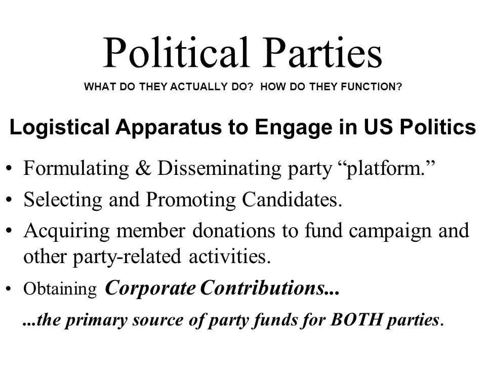 Political Parties WHAT DO THEY ACTUALLY DO. HOW DO THEY FUNCTION.
