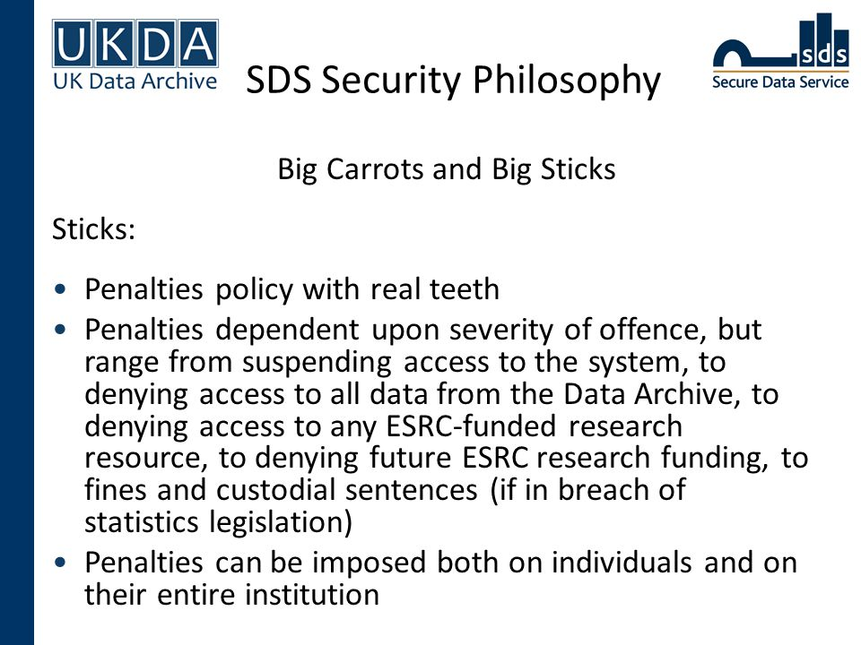SDS Security Philosophy Big Carrots and Big Sticks Sticks: Penalties policy with real teeth Penalties dependent upon severity of offence, but range fr