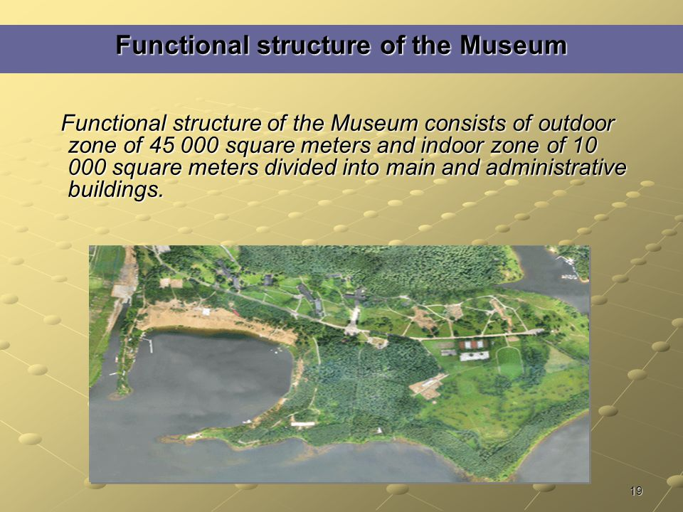 19 Functional structure of the Museum Functional structure of the Museum consists of outdoor zone of 45 000 square meters and indoor zone of 10 000 square meters divided into main and administrative buildings.