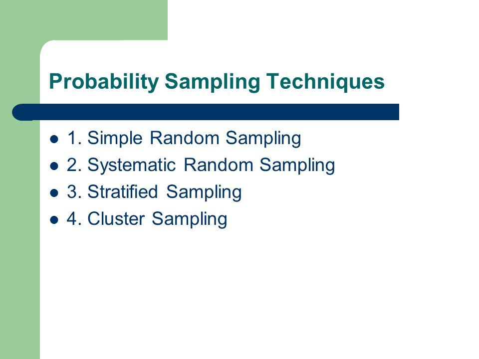Probability Sampling Techniques 1. Simple Random Sampling 2. Systematic Random Sampling 3. Stratified Sampling 4. Cluster Sampling