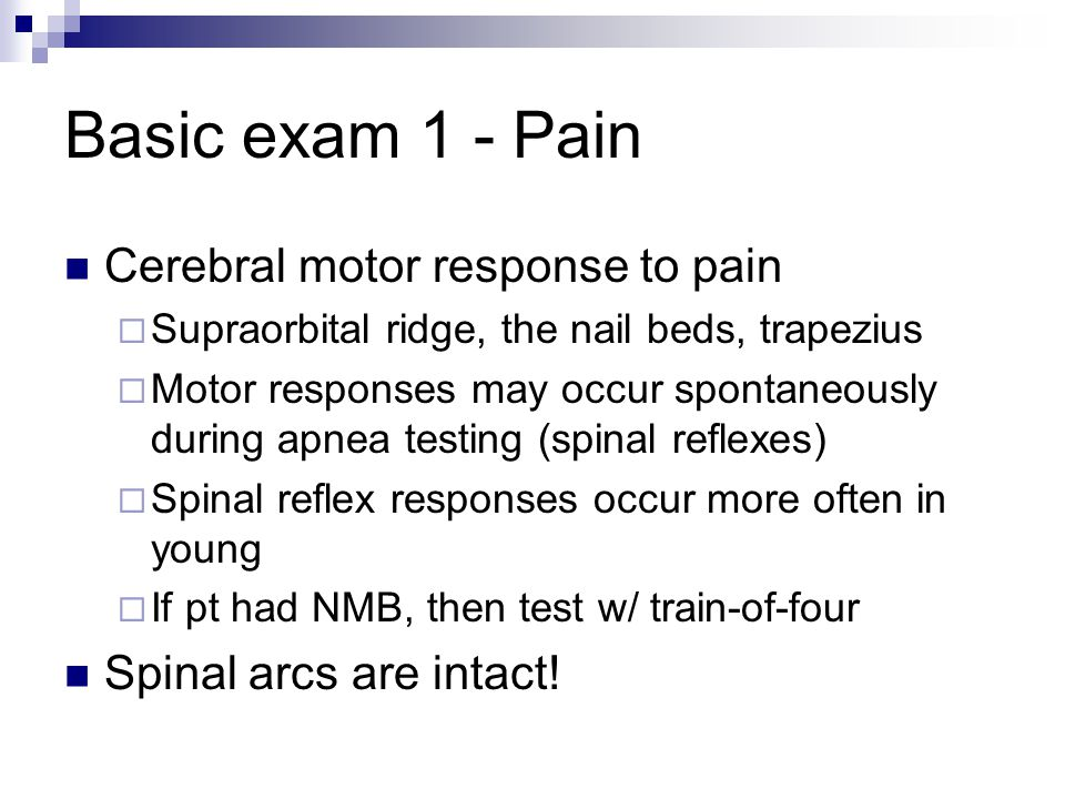 Basic exam 1 - Pain Cerebral motor response to pain  Supraorbital ridge, the nail beds, trapezius  Motor responses may occur spontaneously during ap