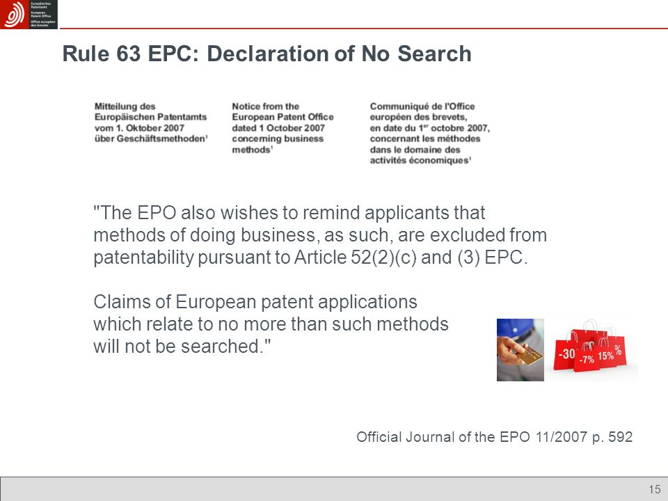 Rule 63 EPC: Declaration of No Search