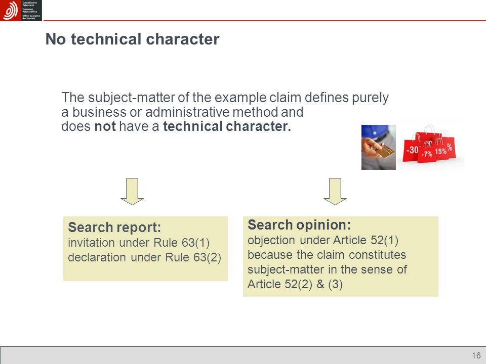 No technical character The subject-matter of the example claim defines purely a business or administrative method and does not have a technical charac