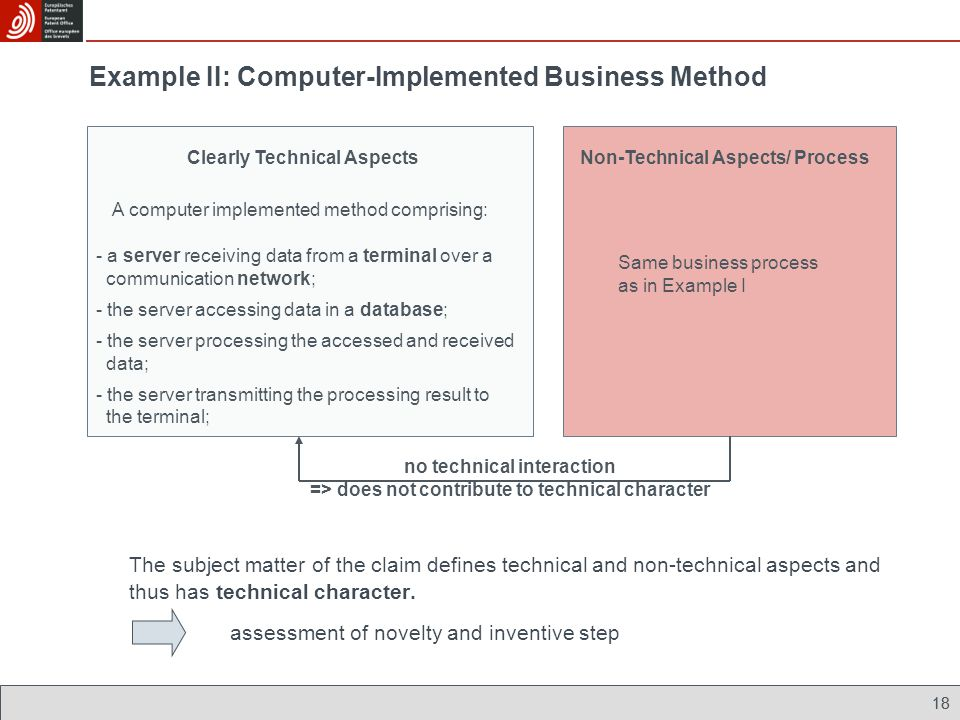 18 Example II: Computer-Implemented Business Method Non-Technical Aspects/ ProcessClearly Technical Aspects A computer implemented method comprising:
