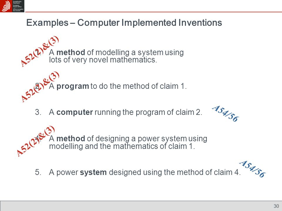 30 1.A method of modelling a system using lots of very novel mathematics. 2.A program to do the method of claim 1. 3.A computer running the program of