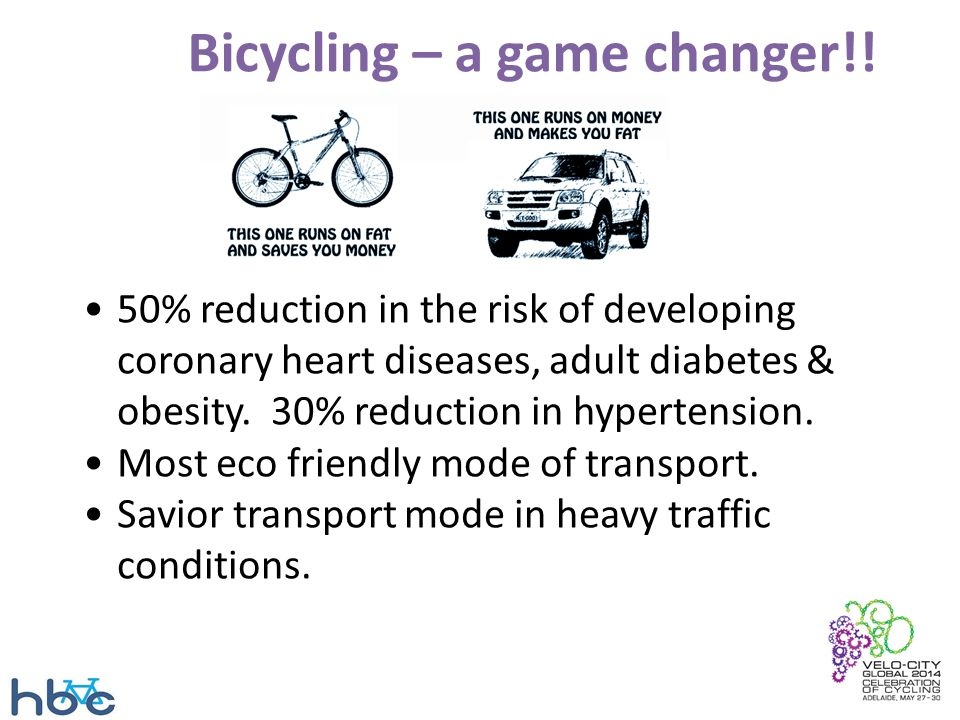 Bicycling – a game changer!! 50% reduction in the risk of developing coronary heart diseases, adult diabetes & obesity. 30% reduction in hypertension.