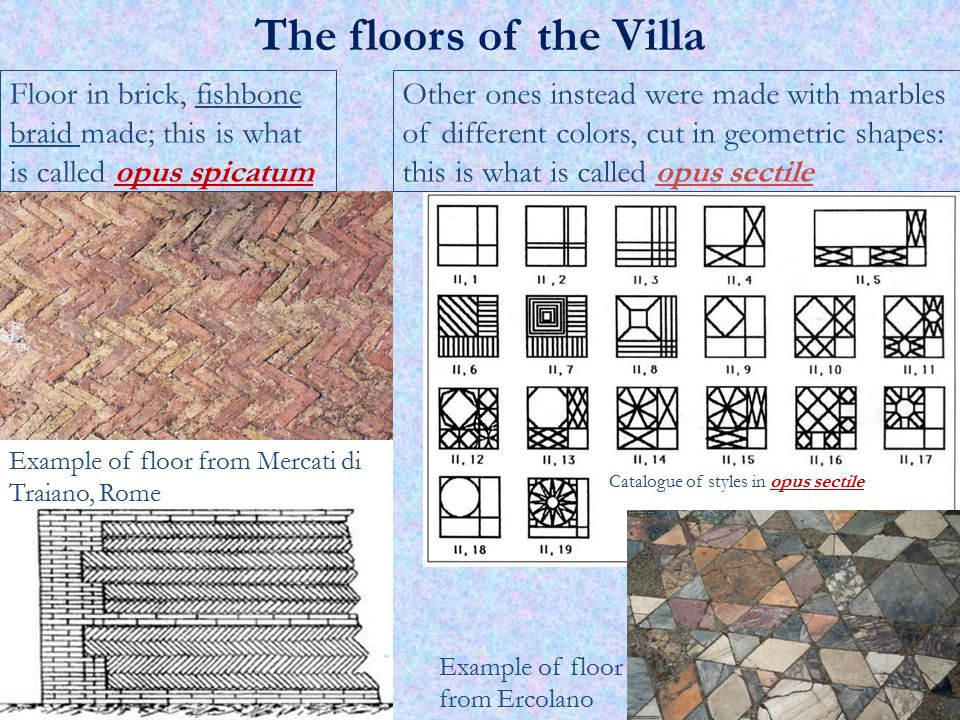 Other ones instead were made with marbles of different colors, cut in geometric shapes: this is what is called opus sectile Floor in brick, fishbone b