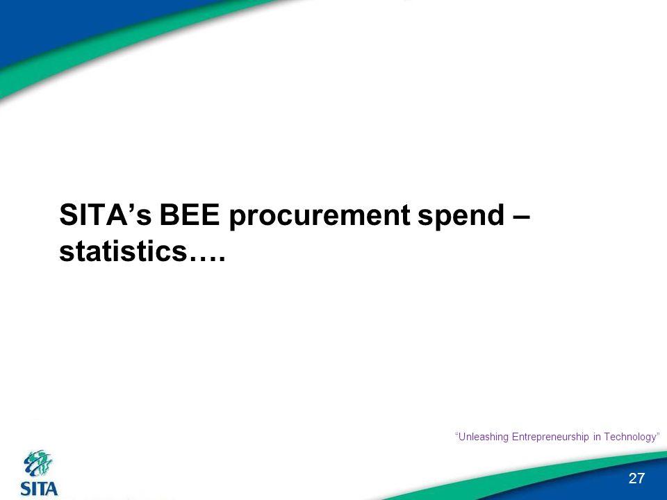"SITA's BEE procurement spend – statistics…. 27 ""Unleashing Entrepreneurship in Technology"""