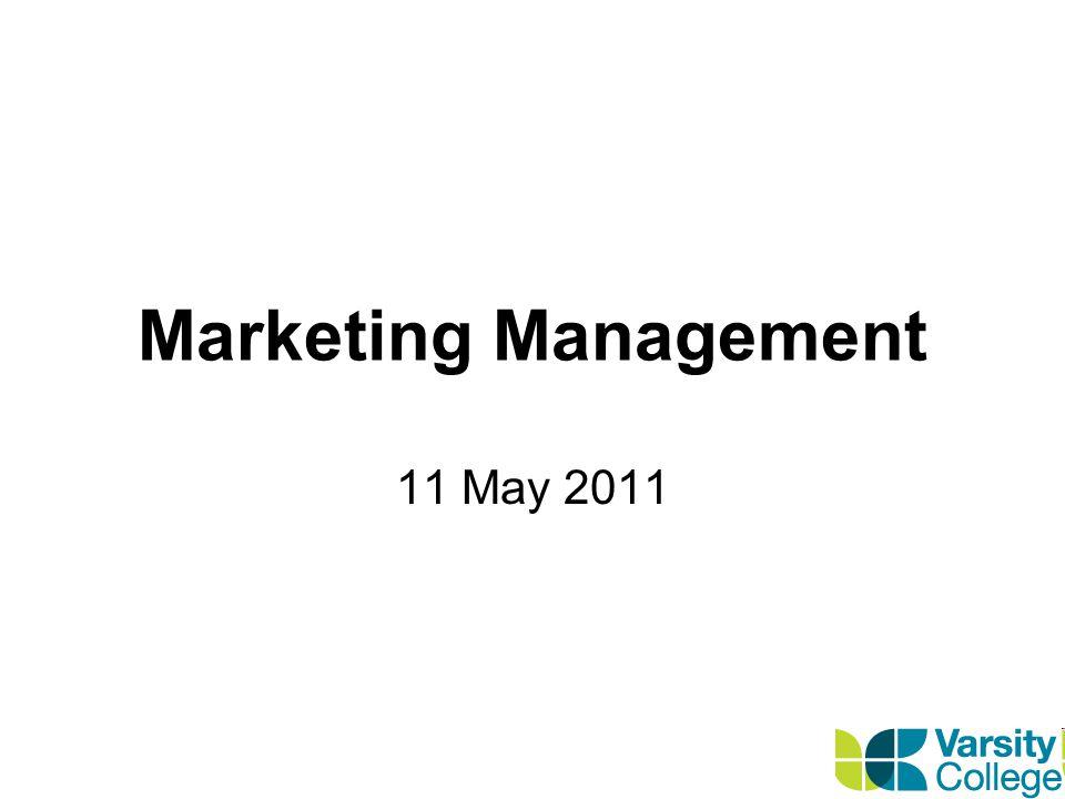 Marketing Management 11 May 2011
