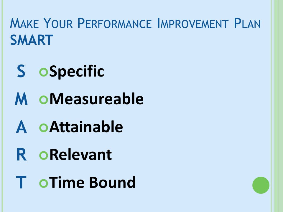 M AKE Y OUR P ERFORMANCE I MPROVEMENT P LAN SMART Specific—Be very clear about what you are trying to achieve Measureable— Identify what will be measured to determine progress Attainable—Include realistic strategies that can be implemented Relevant—Choose strategies that will have a direct impact on the situation Time—Have a deadline for achievement SMART goals can be harder to write than they sound.