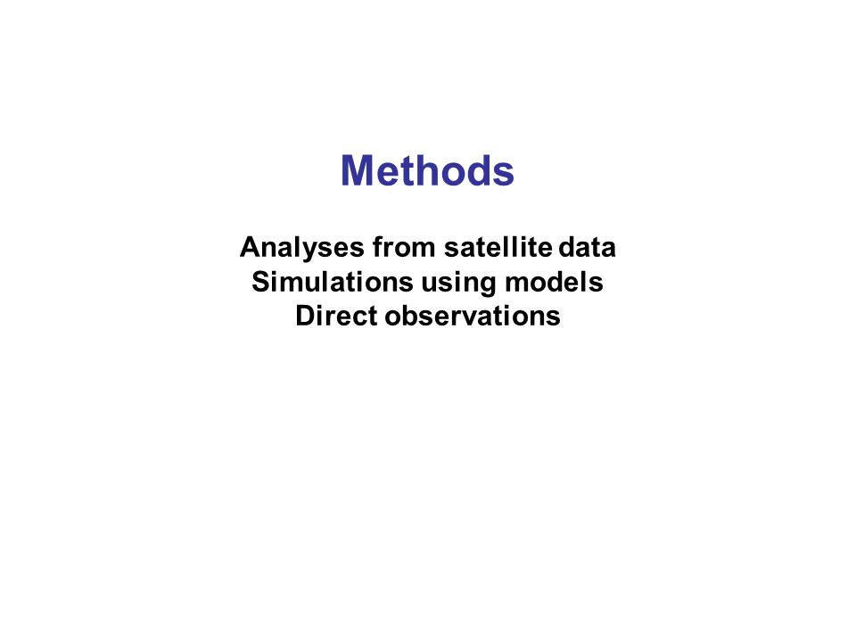 Methods Analyses from satellite data Simulations using models Direct observations