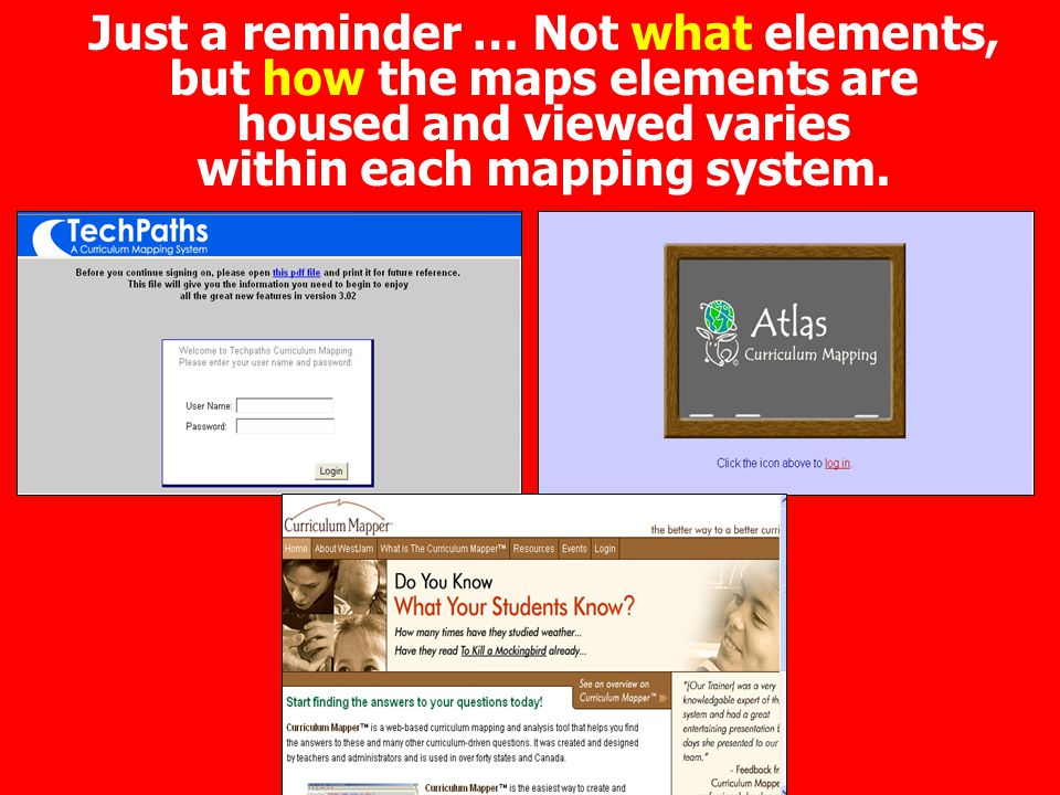 Just a reminder … Not what elements, but how the maps elements are housed and viewed varies within each mapping system.