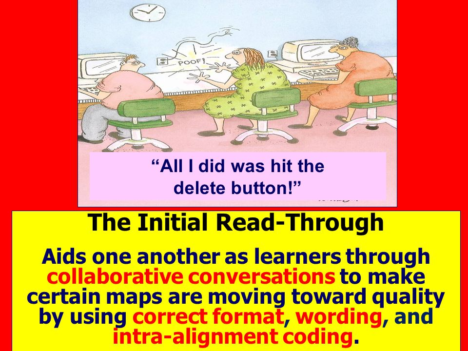 All I did was hit the delete button! The Initial Read-Through Aids one another as learners through collaborative conversations to make certain maps are moving toward quality by using correct format, wording, and intra-alignment coding.