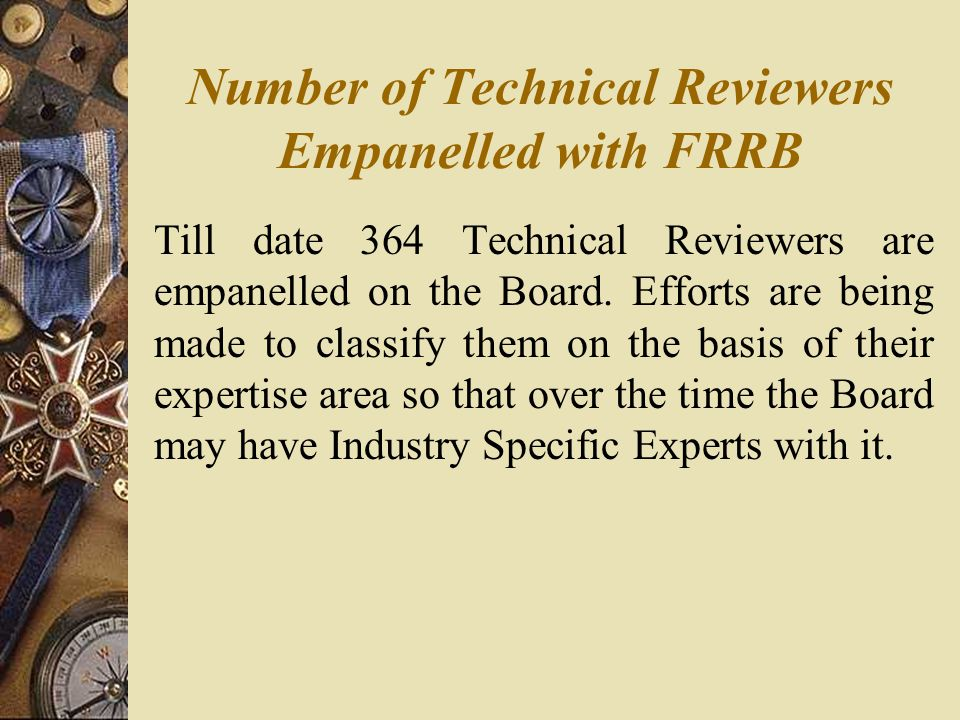 Number of Technical Reviewers Empanelled with FRRB Till date 364 Technical Reviewers are empanelled on the Board.