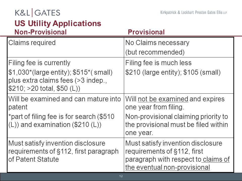 12 US Utility Applications Non-Provisional Provisional Claims requiredNo Claims necessary (but recommended) Filing fee is currently $1,030*(large entity); $515*( small) plus extra claims fees (>3 indep., $210; >20 total, $50 (L)) Filing fee is much less $210 (large entity); $105 (small) Will be examined and can mature into patent *part of filing fee is for search ($510 (L)) and examination ($210 (L)) Will not be examined and expires one year from filing.