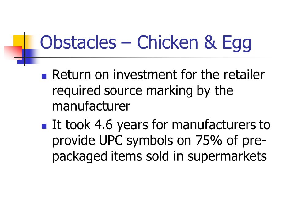 Obstacles – Chicken & Egg Return on investment for the retailer required source marking by the manufacturer It took 4.6 years for manufacturers to provide UPC symbols on 75% of pre- packaged items sold in supermarkets