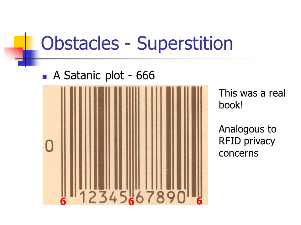 Obstacles - Superstition A Satanic plot - 666 6 66 This was a real book.