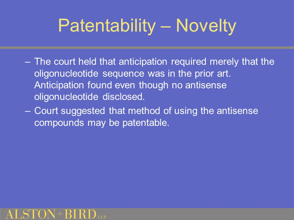 Patentability – Novelty –The court held that anticipation required merely that the oligonucleotide sequence was in the prior art.