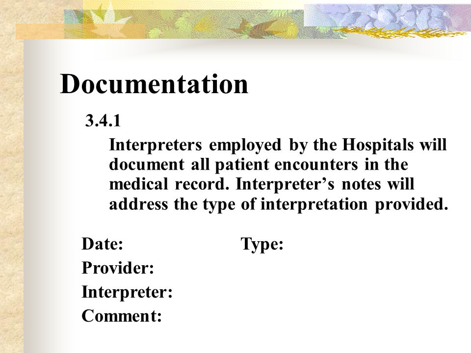 Documentation 3.4.1 Interpreters employed by the Hospitals will document all patient encounters in the medical record.
