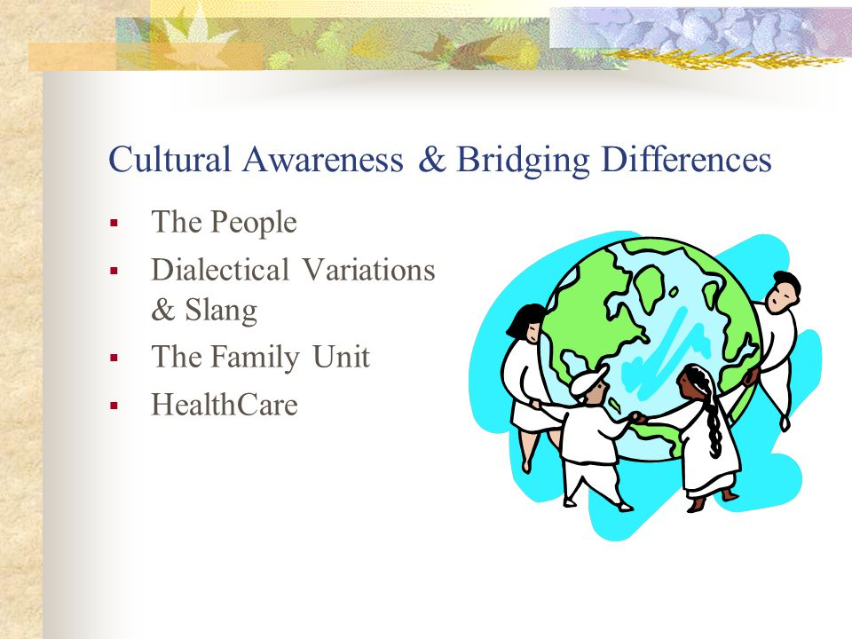Cultural Awareness & Bridging Differences  The People  Dialectical Variations & Slang  The Family Unit  HealthCare