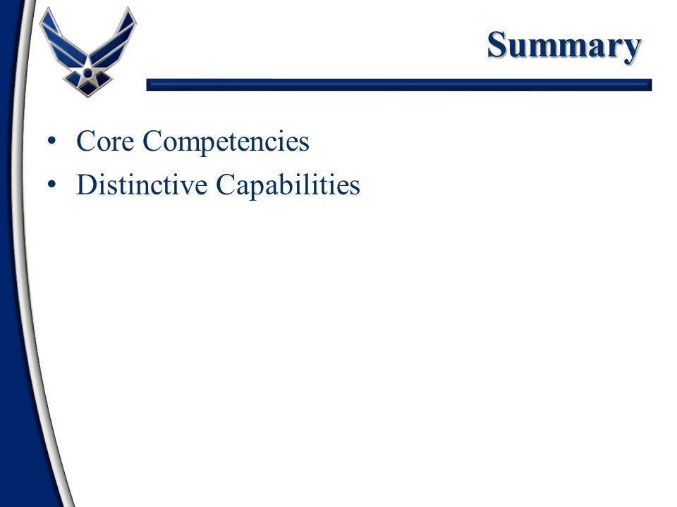 Core Competencies Distinctive CapabilitiesSummary