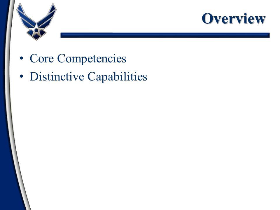 Core Competencies Distinctive CapabilitiesOverview