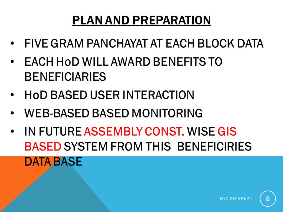 PLAN AND PREPARATION FIVE GRAM PANCHAYAT AT EACH BLOCK DATA EACH HoD WILL AWARD BENEFITS TO BENEFICIARIES HoD BASED USER INTERACTION WEB-BASED BASED M