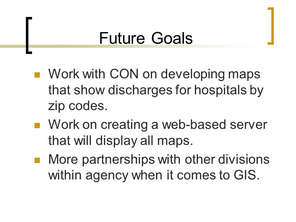 Future Goals Work with CON on developing maps that show discharges for hospitals by zip codes.